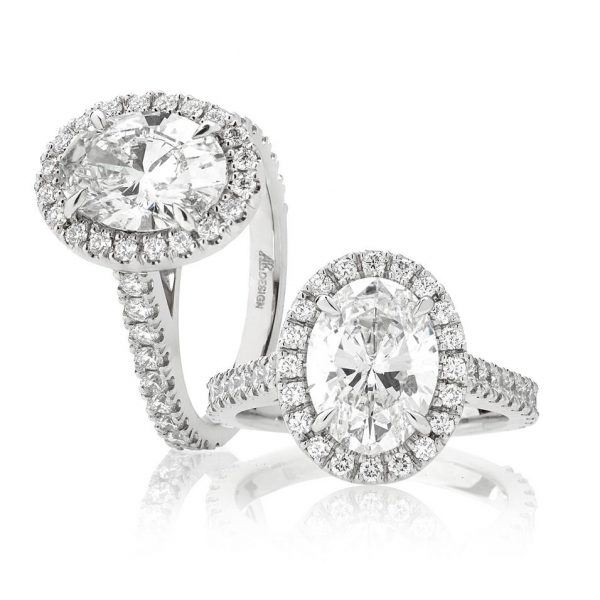Handcrafted Classic Oval Halo with 2.51 CT's in Diamonds
